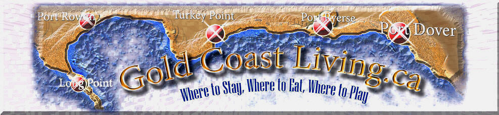 Link and map for accommodations, cottages for rent and places to stay one the Gold Coast of Ontario, Port Dover, Turkey Point, Simcoe, Long Point, and Port Ryerse in Norfolk County on Lake Erie