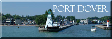 photograph of Port Dover pier, Norfolk County on Lake Erie, Ontario's South Coast, link to Port Dover Ontario