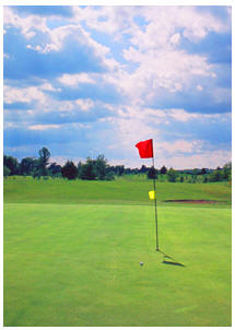 Photograph of golf course green on the Gold Coast, South Coast of Ontario, Norfolk County on Lake Erie, includiing Port Dover, Turkey Point and Long Point Ontario
