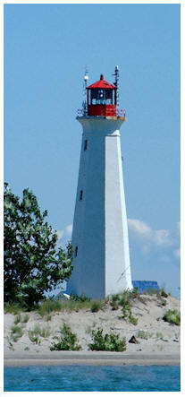 Photograph of lighthouse on Long Point, on the Gold Coast, South Coast of Ontario, Norfolk County on Lake Erie, includiing Port Dover, Turkey Point and Long Point Ontario